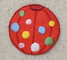 Iron On Embroidered Applique Patch Red Inflatable Beach Ball Colorful Polka Dots