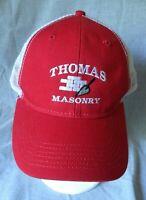 Thomas Masonry Baseball Trucker Hat Cap Red Embroidered Mesh Construction