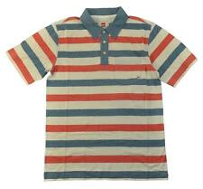 Quicksilver Big Boys Red & Blue Striped Polo Size 12 (Medium)