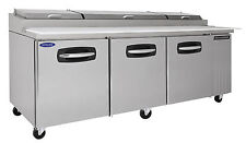 Nor-Lake AdvantEdge Nlpt93-007, 93-inch 3 Door Pizza Prep Tables W/Drawers on Ce
