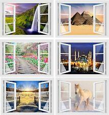 Wandtattoo Fenster 3D Look Wandsticker Aufkleber Bild Wandbild Wanddeko Folie