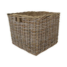 KUBU EXTRA LARGE SQUARE RATTAN WICKER LOG BASKETS WITH LINERS & INSET HANDLES