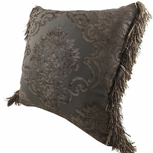 CHENILLE CUSHION -FRENCH CHOCALATE BROWN DESIGN WITH MATCHING RUCCHE 45 x 45cm