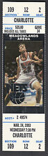 New Jersey Nets vs Charlotte Hornets 1993 Unused Ticket photo of Chris Dudley