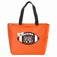 Football Monogrammed Zipper Tote - Many Colors Available