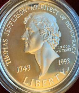 1993 DCAM THOMAS JEFFERSON 250th ANNIVERSARY SILVER DOLLAR - PROOF - 90% SILVER