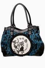 Green Phoenix Cat Kitty Flocked Floral Rockabilly Gothic Handbag Banned Apparel