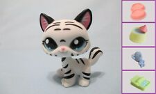 Littlest Pet Shop Cat Kitty Tiger Black and White 1498 Free Accessory Authentic