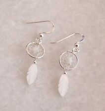 925 Solid Sterling Silver Moonstone Dreamcatcher Feather Drop Dangle Earrings