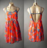 Bright Orange Leaf Print Open Back Babydoll Strappy Slip Sun 182 mv Dress M L