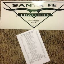 "Santa Fe Travel Trailer Camper Decal Sun Valley, Calif 16"" Black Die Cut Vintage"