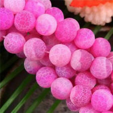 8mm Pink Frost Agate Onyx Round Loose Bead 15''