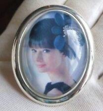 broche bijou rétro camée bombé  argent buste quadrichromie vintage caméo 3395