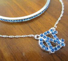 UNC TAR HEELS CRYSTAL PENDANT NECKLACE BRACELET North Carolina jewelry gift set