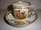 Exquisite Antique KPM cherub angels putti scenes hand painted cup and saucer