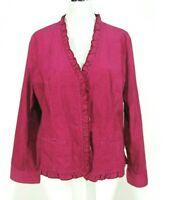 Chicos Jacket Sz 2 ( L 12 14) Corduroy Stretch Ruffles Pink Snake Print Blazer
