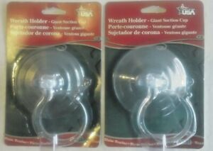 Two NEW in Pack Giant Suction Cup 10 lb. Christmas Wreath Holders, Made in USA