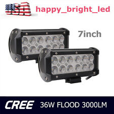 2PCS 36W CREE LED LIGHT BAR 3000LM FLOOD BEAM DRIVING VEHICLES UTE SUV PODS BOAT