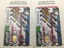 2 x Giffgaff-Nano/Micro/Standard SIM Gratis Regno Unito delivrey + 5 £ LIBERO < ---