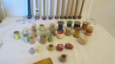 Large Lot Vintage Textile Industrial Wooden Thread Sewing Spindles Spools 30 +