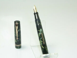 Nice Vintage Mabie Todd SWAN 6241 Marbled Fountain Pen Flexy 14ct F Nib SERVICED
