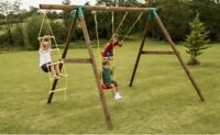 Outdoor Wooden Double Swing Set With Climbing Ladder - Little Tikes Riga