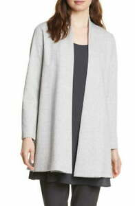 NWT EILEEN FISHER Dark Pearl Organic Cotton Open Cardigan & Slits Jacket $258 1X