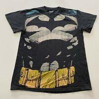 Batman All Over Print T-Shirt Size M Black Bat Signal Retro Movie Promo