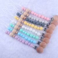 Round Silicone Beads Wooden Pacifier Clip Teething Dummy Soothers Holder Chain