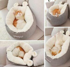 Warm Pet Dog Cat Sofa Bed House Basket Mat Cushion Cat Sleeping Bag Grey