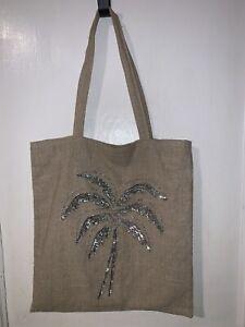 Summer Beige Linen Silver Sequin Palm Tree Medium Size Lined Shoulder/hand Handl