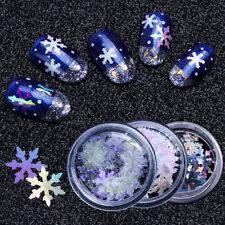 6 Box Christmas Xmas Snowflake Glitter Laser Nail Art Sequins Paillette Set