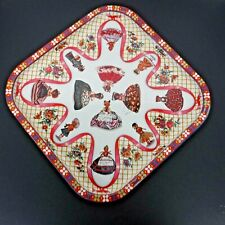 """Vtg Daher Decorated Ware Square 13 1/2"""" Metal Serving Tray Foreign Dolls England"""