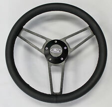 "Bronco F100 F150 F250 F350 Black Leather on Black Billet Steering wheel 14 3/4"""