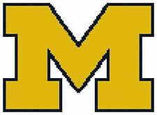 Counted Cross Stitch Pattern, Michigan Wolverines Logo - Free US Shipping