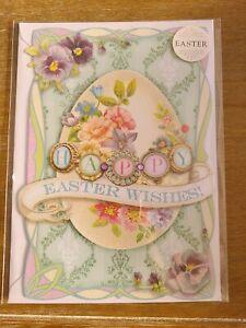 1 Punch Studio Easter Egg Greeting Card  3 avail Iridescent glitter Rhinestone