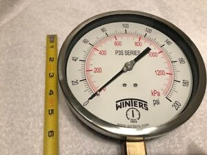 WINTERS, GAUGE, P3S6088, 0/200 PSI,