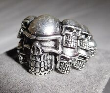 MEN'S LARGE & HEAVY & DETAILED 925 SILVER SKULL RING - SIZE 9