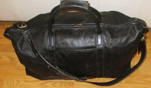 """COACH XL All Leather Vintage Black Weekend/Travel Cabin Duffle Bag 0503 24"""""""