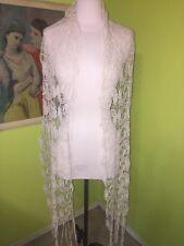 Womens Paisley Crochet Scarf Wrap Rectangle Off white Cream Boho