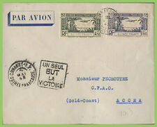 French Guinee 1943 censored Airmail cover to Accra ( Gold Coast), Victory cachet