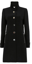 Ex Wallis Military Coat Jacket with Zip Pocket High Neck in Black Size 10 - 14
