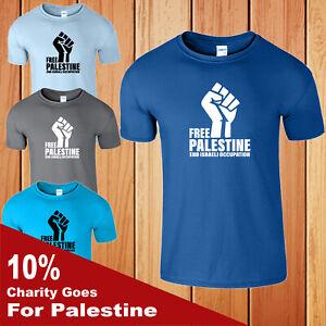 Free Palestine T Shirt Mens Gaza Muslims Protest Freedom Occupation Israeli End