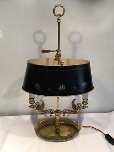 Vintage Bouillotte 2 Arm Gilt Metal French PTable Lamp, adjustable shade