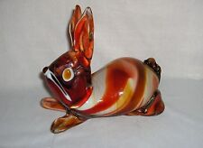 Vintage Art Glass Bunny Red Orange Swirl Crystal Rabbit Very Detailed NICE