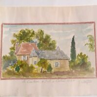 PRATS DE CARLUX en DORDOGNE 1950 Dessin Aquarelle signée