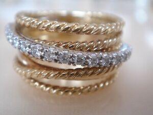 $2800 DAVID YURMAN 18K SOLID GOLD WIDE CROSSOVER DIAMOND RING