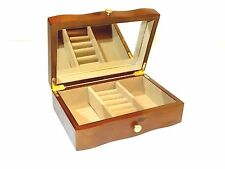 Brown wooden jewellery box with interior mirror ring rolls, Schabby Chic