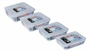 Pyrex Rectangular Glass Dishes with Plastic Lid Set of 4 Pieces - Transparent