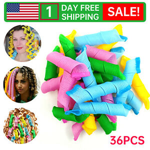 36Pcs Magic Long Hair Curlers Curl Formers Spiral Rollers Styling Tool Hook K8u